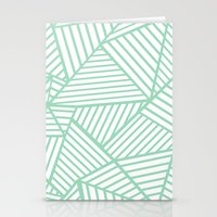 Abstract Lines Close Up Mint Stationery Cards