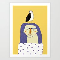 Women and Owl, owl art, people, illustration, fashion, style,  Art Print