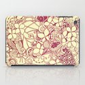 Yellow square, pink floral doodle, zentangle inspired art pattern iPad Case