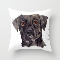 LABRADOR painting, dog painting, watercolor dogs, Black Lab art Throw Pillow