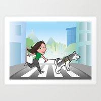 Walking with my dog Art Print