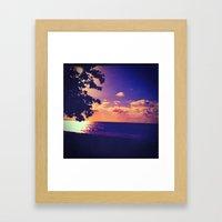 Beach - Violet Sunset Framed Art Print