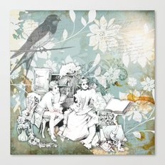 Vintage Reading Collage Canvas Print