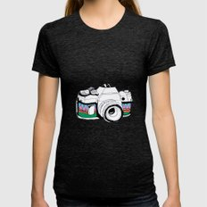 Camera Womens Fitted Tee Tri-Black SMALL