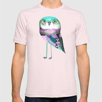 Owl Print Mens Fitted Tee Light Pink SMALL