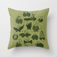 Critter Cars Throw Pillow