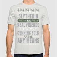 Slytherin Mens Fitted Tee Silver SMALL