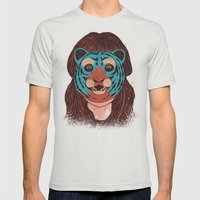 Tiger Face Mens Fitted Tee Silver SMALL