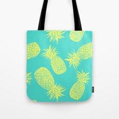 Pineapple Pattern - Turquoise & Lemon Tote Bag