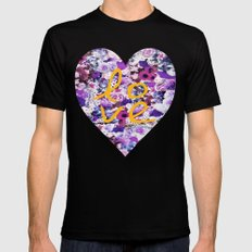 LOVE, LOVE, LOVE Black SMALL Mens Fitted Tee