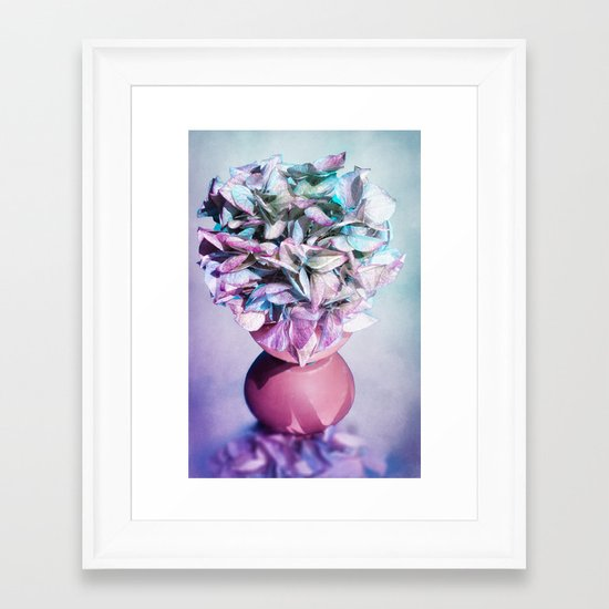 NOSTALGIA - Still life with vase and hydrangea flowers Framed Art Print