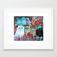 3  cats Framed Art Print