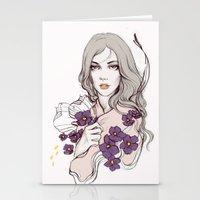Birth Flower II - Violet Stationery Cards