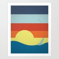 sailing to the sunset Art Print