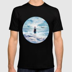 Waiting at the water's edge Mens Fitted Tee Black SMALL