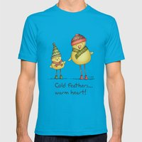 Two Chicks Pattern Mens Fitted Tee Teal SMALL