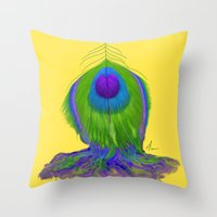 Melting Peacock Feather - Concept Painting Throw Pillow