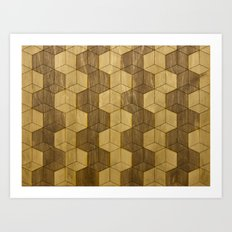 Wooden Zig Zag Optical Cubes Art Print