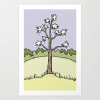 White Flower Tree Art Print