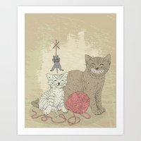 Naughty Cats Art Print