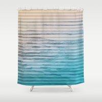 Sunrise Ocean Stripes Shower Curtain