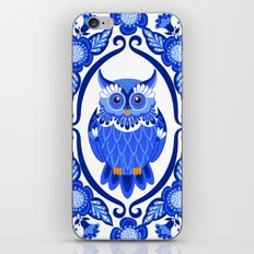 Delft Blue and White Owls and Flowers iPhone & iPod Skin