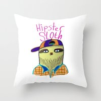 Hipster Sloth Throw Pillow