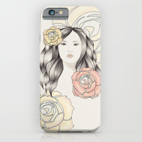 Whimsical Face with Pastel Roses iPhone & iPod Case