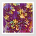 yellow flowers on purple Art Print