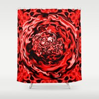 Red Swirl Topography Shower Curtain