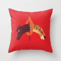 Pouncing Through Fire Throw Pillow