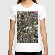 Holiday Sparkle Womens Fitted Tee White SMALL