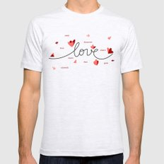 Love, Butterfly Hearts & Text Unique Valentine Mens Fitted Tee Ash Grey SMALL