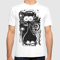 Psychedelic Cat SMALL White Mens Fitted Tee