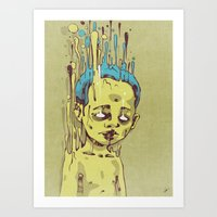 The Golden Boy With Blue… Art Print