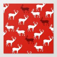 Christmas Reindeers Patt… Canvas Print
