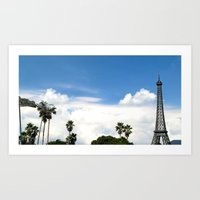 Age of Dinosaurs vs. La Tour Eiffel Art Print