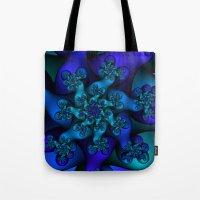 Blue Digital Fractal Tote Bag