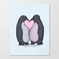 Penguin Kisses  Canvas Print