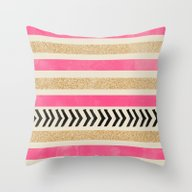 PINK AND GOLD STRIPES AN… Throw Pillow