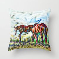 Abstract Horses In Paddo… Throw Pillow