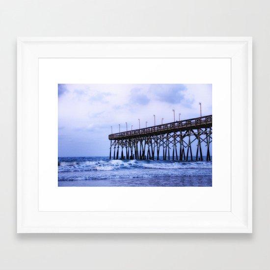 Waves against the Pier Framed Art Print