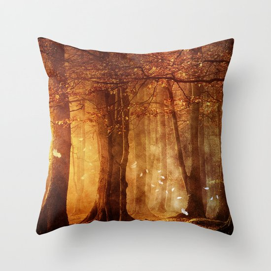 In the woods. Throw Pillow