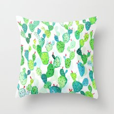 Watercolour Cacti Throw Pillow
