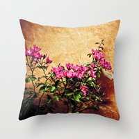 Pink Flowers Against Wea… Throw Pillow