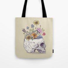 Half Skull Flowers Tote Bag