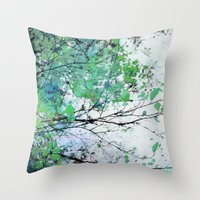 Autumn 5 Green Throw Pillow