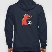 Black Cartoon Dinosaur Soccer Hoody