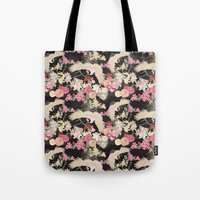 Japanese garden with cranes Tote Bag