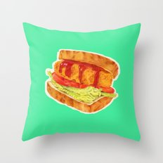 Burger Sandwich Throw Pillow